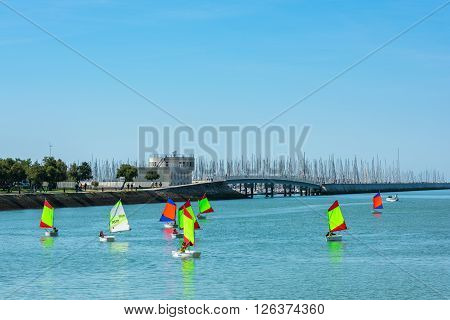 Sailing Training Of Young Children In La Rochelle