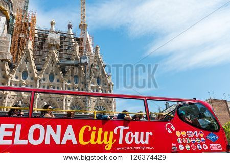 Tourist Coach Near Sagrada Familia In Barcelona