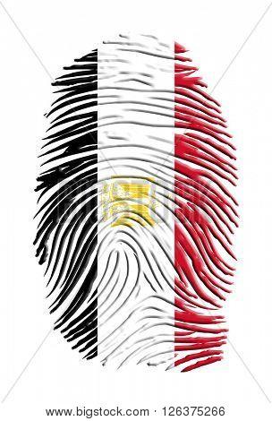 Egypt Flag Finger Print 3D Render