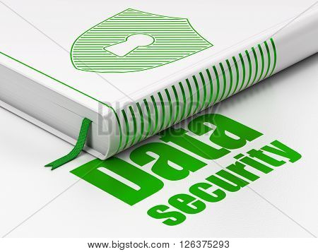 Privacy concept: book Shield With Keyhole, Data Security on white background