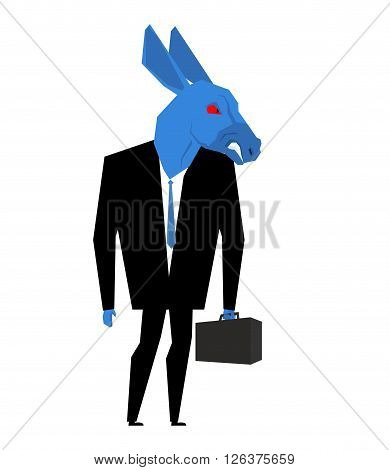 Donkey Businessman. Metaphor Of Democratic Party Of United States. Wild Animal With Briefcase And Ti