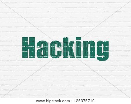Privacy concept: Hacking on wall background