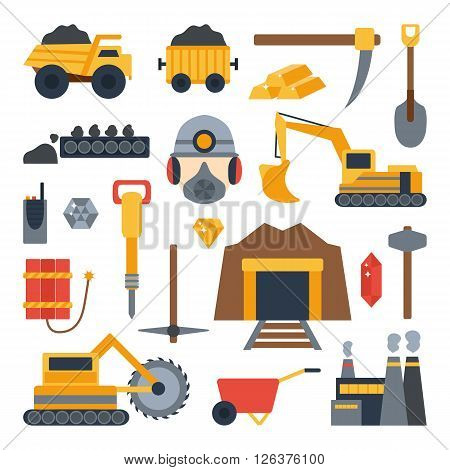 Vector illustration with mining icons. Cute cartoon mining objects. Industrial mining equipment metallurgy factory. Coal mining icons. Mineral diamond gold factory. Mining tools and machinery