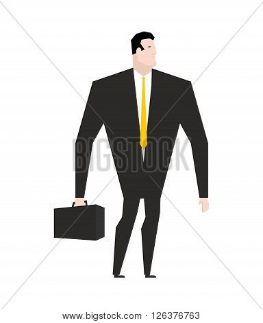Businessman With Briefcase. Manager In Black Formal Suit. Yellow Tie. Office Plankton. Boss On White
