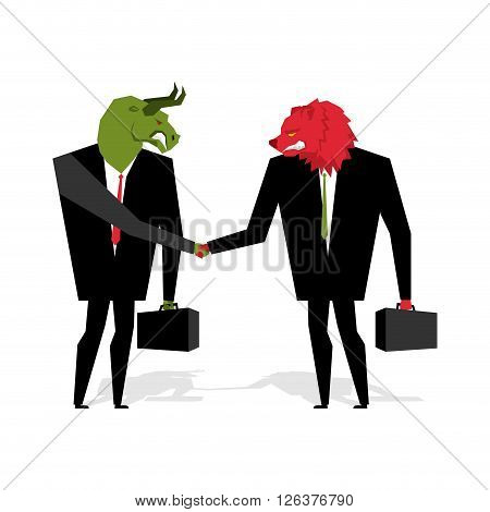 Bull And Bear Deal. Animals Businessmen Make Trade. Men Shake Hands. Contract Between Traders On Sto