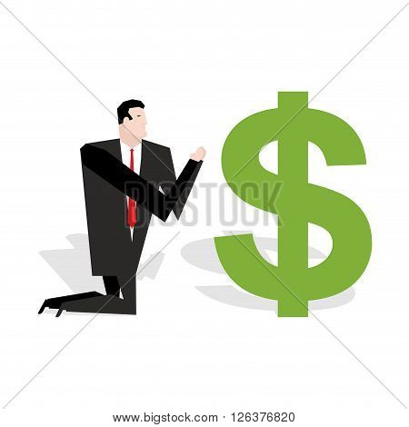 Financial Idol. Businessman Praying To Dollar. Worship Of Money. Prayer Cash. Man Are Standing On Th