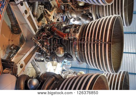 FLORIDA, USA - DEC 20: Saturn V Rocket Engines displayed in Apollo Saturn V Center, Kennedy Space Center Visitor Complex on Dec. 20, 2010 in Cape Canaveral, Florida, USA.