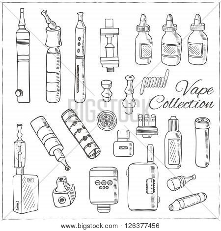 Hand drawn vape symbols set. Isolated vector illustration for identity, design, decoration, packages product and interior decoration