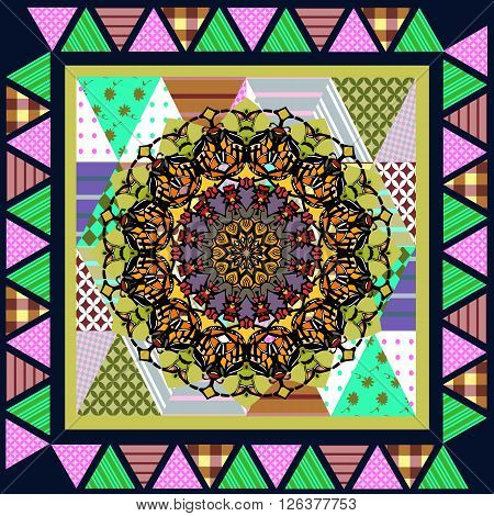 Ornamental mandala on patchwork background. Abstract bandana print or silk neck scarf. Geometric kerchief square pattern design style for print on fabric. Vector illustration.
