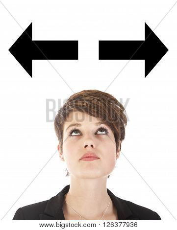 Young woman making a choice with arrows isolated on white background