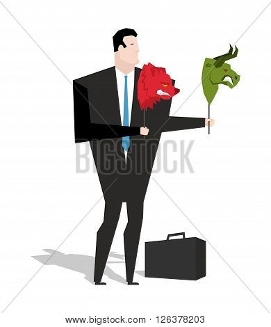 Bear And Bull Mask In Hands Of Businessman Trader. Player On Stock Exchange Holds Animals Head. Chan