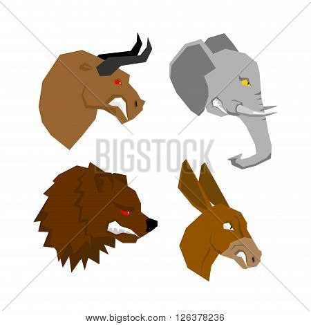 Angryl Animal Set. Aggressive Bull With Red Eyes. Scary Elephant With Tusks. Horrible Bear With A Gr