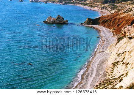 Petra Tou Romiou beach with Aphrodite's rock near Paphos, Cyprus