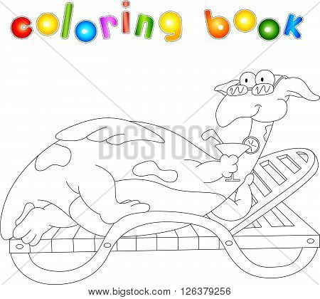 Cartoon Dragon Lying On A Lounger And Drinking A Cocktail. Coloring Book For Kids