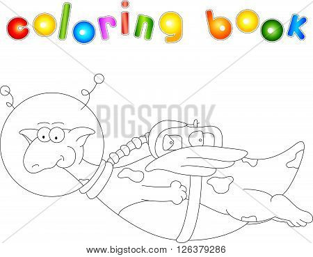 Cartoon Dragon Astronaut. Coloring Book For Kids
