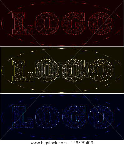Laser beams neon logo set red gold blue