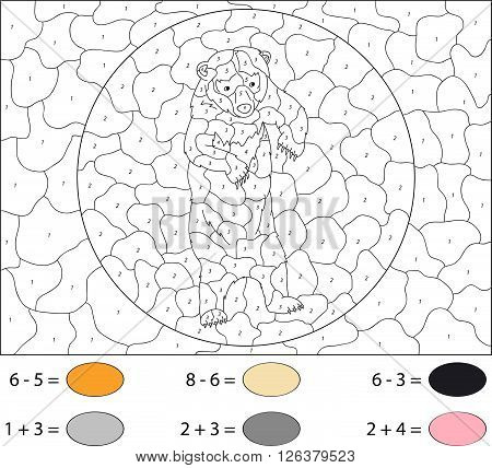 Cartoon Asiatic Black Bear. Color By Number Educational Game For Kids