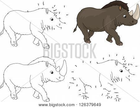 Cartoon Prehistoric Rhinoceros. Coloring Book And Dot To Dot Game For Kids