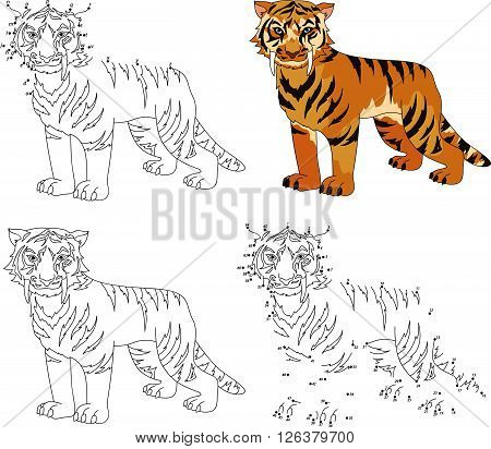 Cartoon Saber-toothed Tiger. Coloring Book And Dot To Dot Game For Kids