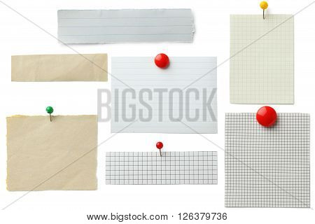 Piece of note paper on white background collage