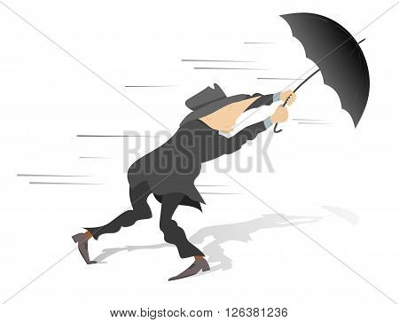 Windy day. Man tries to hold an umbrella gone with the wind