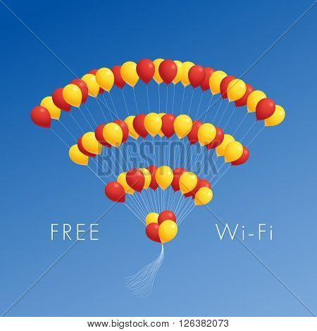 Balloons in the form of wi-fi sign and the inscription free wi-fi. Creative illustration.