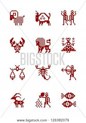 Zodiac Symbol icons in style of north Russian pattern. Set of zodiac astrology - vector illustration