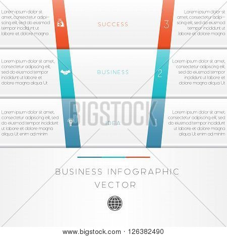 Vector illustration template of business infographic numbered three position