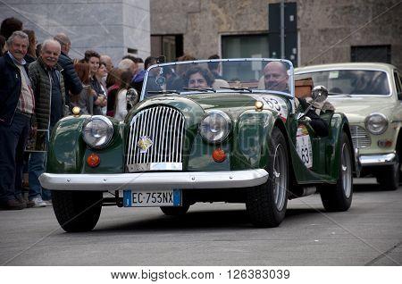 BRESCIA, ITALY - APRILE 17, 2016:500 Miglia. Finish. AA BADGE, 1945 built