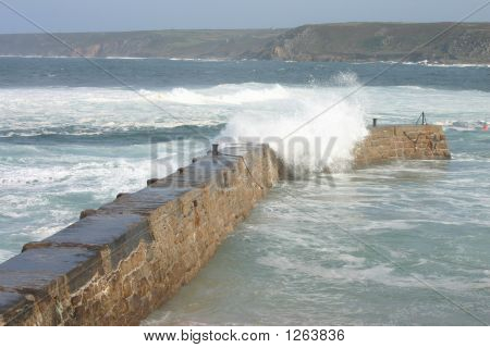 Water Splashing Over Sennen Quay, Cornwall