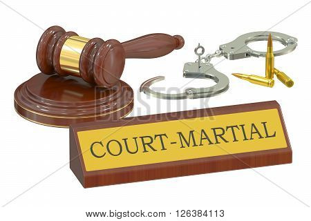 court-martial concept 3D rendering isolated on white background