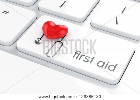 First Aid Concept Red Heart And Stethoscope On The White Computer Keyboard Enter Button