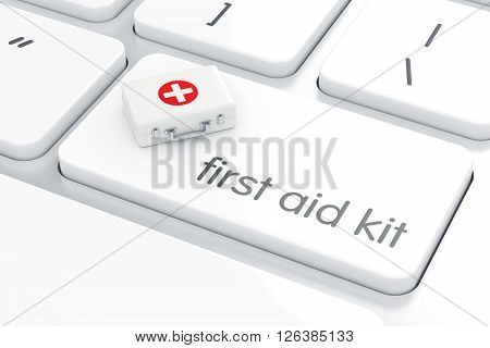 First Aid Kit On The White Computer Keyboard Enter Button. Computer Support Concept