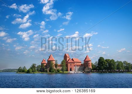 Trakai Lithuania - June 16 2006: Galve LakeTrakai old red bricks castle. Trakai Castle is one of the most popular tourist destinations in Lithuania.