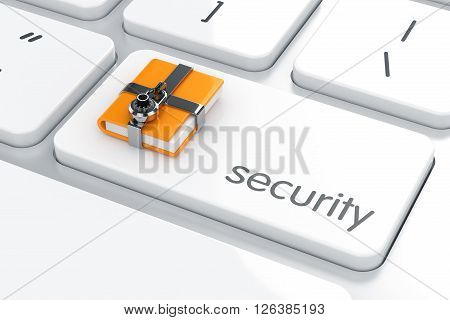 Combination Padlock With Yellow Computer Folder On The Computer Keyboard. Security Concept