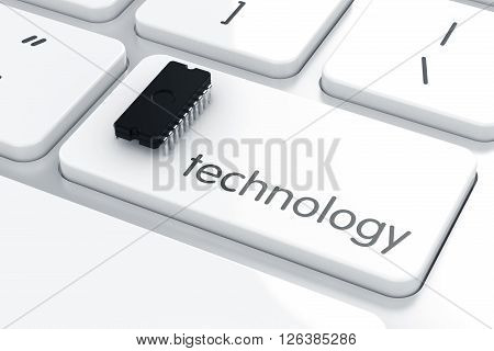 Computer Microchip On The Laptop Keyboard. Technology Concept