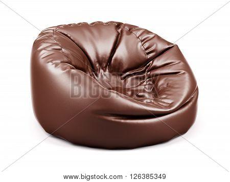 3d rendering of brown soft leather beanbag isolated on white background
