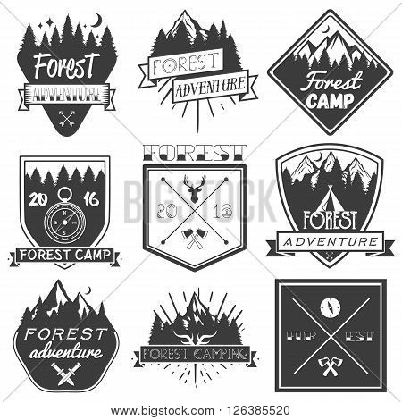 Vector set of forest camp labels in vintage style. Design elements, icons, logo, emblems and badges isolated on white background. Logotype template illustration with forest, pines, trees, mountains.