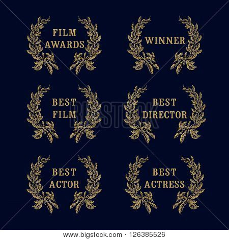 Film awards laurel logo. Film awards and best nominee gold award wreathed with laurel as a mark of honor on dark background
