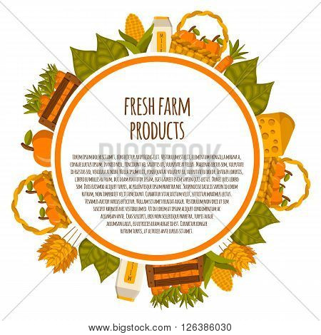 Vector cartoon farm products background. Healthy organic fresh natural farm products concept. Green farm food. Healthy green lifestyle. Round background with farm products. Cartoon objects design