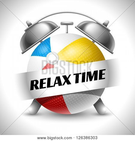 Relax Time. Concept on Recreations Theme. Time to Play Sports. Time to Travel. Time To Play Beach Ball. Vector Illustration. Isolated On White background.