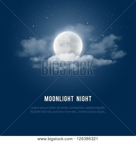 Mystical Night sky background with full moon, clouds and stars. Moonlight night. Vector illustration