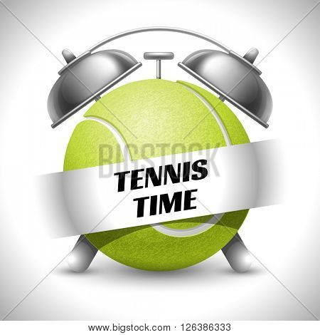 Tennis Time. Concept on Sport Tennis Theme. Time to Play Sports. Time to Watch Tennis Tournament. Time To Play Tennis. Vector Illustration. Isolated On White background.