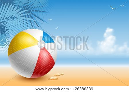 Colorful Beach Ball On The Seaside At Sunny Day. Bright And Glossy Ball For Fun At The Beach. Vector Illustration.