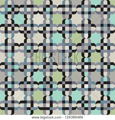 seamless pattern similar to the Arabic tiles. Gray, green and blue color.