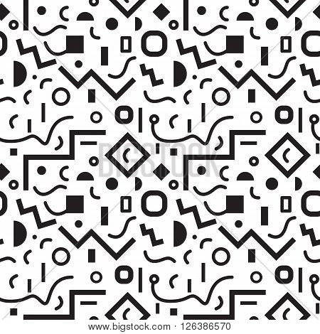 Seamless geometric vintage pattern in retro 80s style, memphis, in black and white. Ideal for fabric design, paper print and website backdrop. EPS10 vector file.
