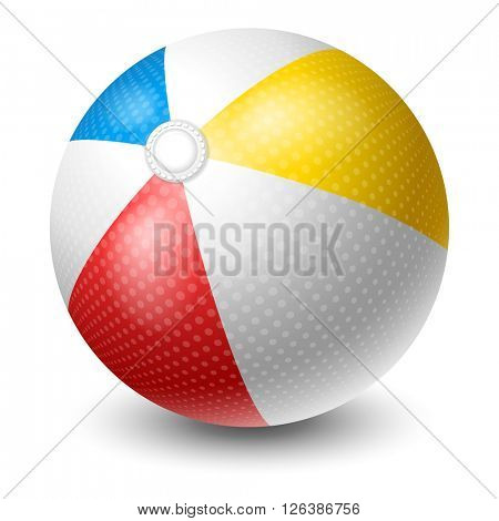 Colorful Beach Ball. Bright And Glossy Ball For Fun At The Beach. Vector Illustration. Isolated On White Background.