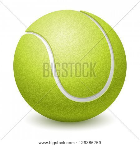 Green Tennis Ball. Realistic Vector Illustration. Isolated on White Background.