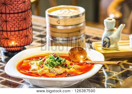 chinese fish splinters broth in chinese ambient