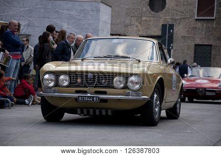 BRESCIA, ITALY - APRILE 17, 2016:500 Miglia. Finish. Alfa Romeo GTV 1750 Bertone Coupe, 1968 built